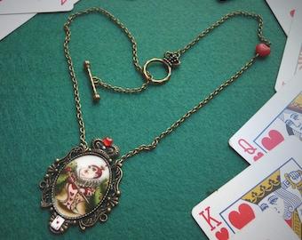 Queen of Hearts necklace, original illustration, Alice in Wonderland jewelry, Alice in Wonderland necklace, wonderland gift, valentines gift