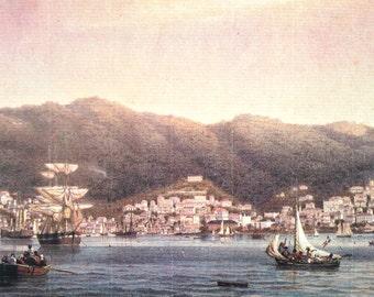 Vintage 1980s St. Thomas, USVI card depicting St. Thomas Harbor, 1850 (NOS)