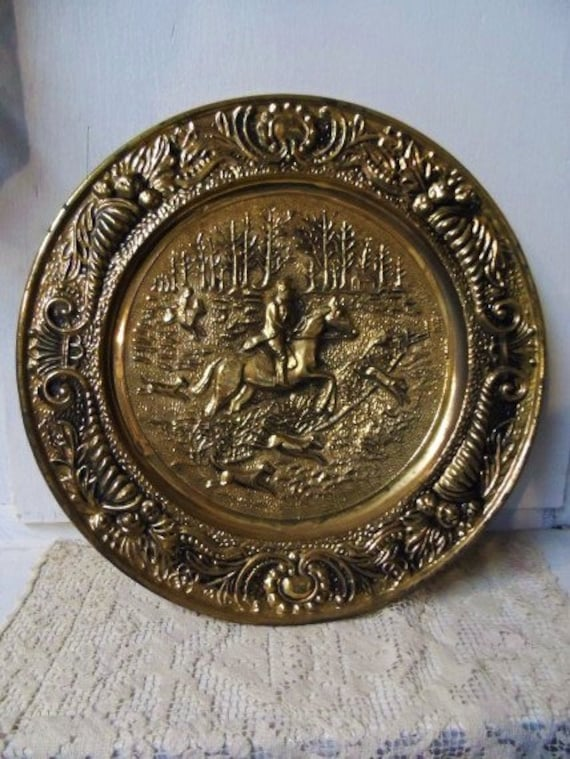 Vintage Large Round Brass Wall Plate Featuring Horse Amp Rider