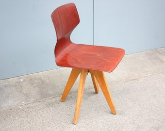 Only decoration! Childs kids schools chair original Flötotto Germany 50s 60s Vintage Mid Century pagwood brown