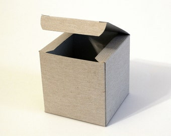 10 White, Gray and Kraft Gift Boxes 3.15x3.15x3.15 I Cube boxes I Party favors