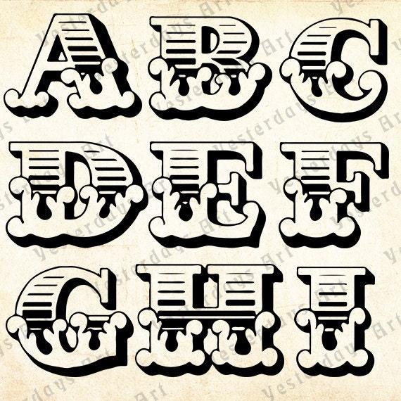 Vintage letras antiguas imágenes digitales 1. por YesterdaysClipArt