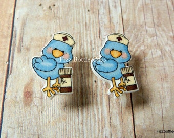 Bluebird Nurse Earrings Post Style Nickel Free RN LPN CNA Assistant Perfect Gift