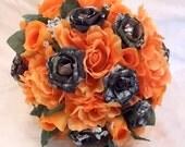 Camo Wedding Bouquet, Camo Bridal Bouquet, Mossy Oak Camo, Orange Silk Flowers, Camo Wedding Bullet Shells