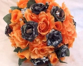 Camo Fall Bouquet, Camo Wedding Bouquet, Bridal Bouquet, Mossy Oak Camo, Orange Silk Flowers, Bullet Shells, Alternative Bouquet, Camo