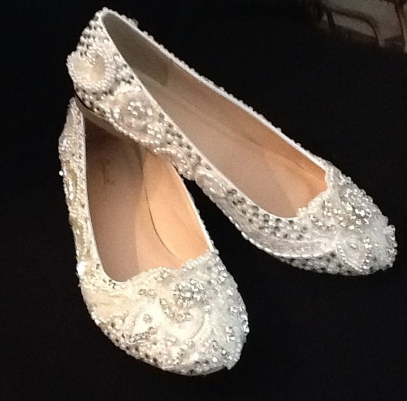 Items Similar To Plus Size Wedding Shoes Bridal Flats ...