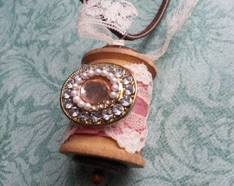 Wooden Spool Necklace with Vintage Pink Crystal Charm