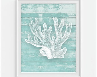 Coral Reef Art Print, Rustic Art, Nautical Art, Rustic Wood 'Look' 5x7, 8X10, 11x14 Sea Life, Beach Decor, Nautical Wall Art, Wall Decor