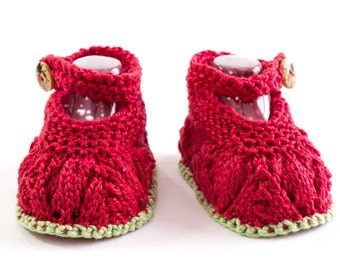 KNITTING PATTERN, Baby Booties, Baby Girl Booties, Newborn Booties Knitting Pattern, Summer Booties, Ankle Straps, Side Button Baby Shoes
