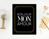 11x14 Bonjour Mon Amour Print, French Collection, Wall Decor, Sale