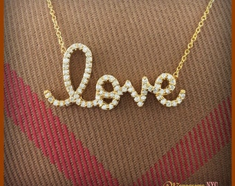 14kt. Gold and Diamond Love Necklace , Love Necklace, Diamond Love