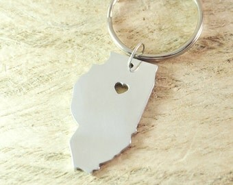 Illinois keychain alloy 925 sterling silver keychain heart key chain State keychain State Charm Map keychain  Map Jewelry