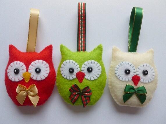Christmas Tree Decoration Owl : Owl christmas tree decorations set of felt owls handmade
