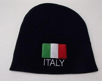 Scandinavian Italian Italy Flag on Navy Blue Knit Hat