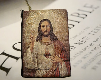 Woven Rug Rosary Pouches (Wallet) , Rosary Cases. (Jesus) , Mother Mary Jesus and Jesus