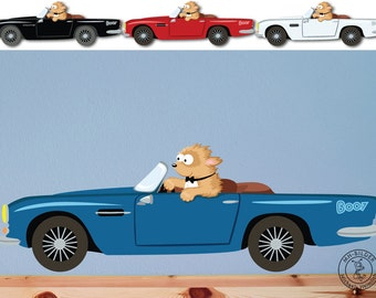 "Wall decal ""Boo & Car"" personalizable color with name"