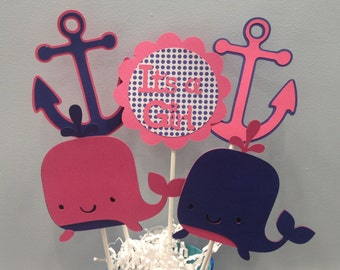 5 Piece Whale and Anchor Girl Baby Shower Centerpiece