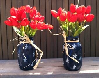 Patriotic vase, country, shabby chic, 4th of july, flower vase, mason jars,