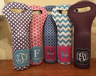 Personalized Wine Tote - Monogram Your Own