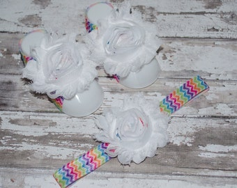 BUY 2 GET 1 FREE---Baby Barefoot Sandals w/ matching headband-Baby Barefoot Sandals-Baby Sandals-Baby Headband-Baby Shoes