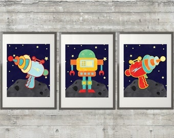 Robot Nursery Art,  with Space Guns, Set of 3-  8x10 Prints, Featuring a Cute Robot and 2 ray guns