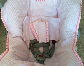 Custom Infant Car Seat Cover with Matching Buckle Covers