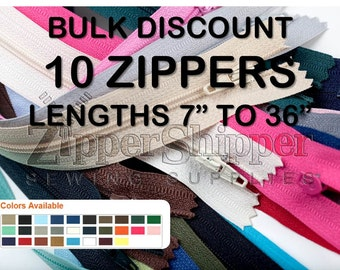 Zippers- Bulk Wholesale Lot of 10-#3 Nylon Coil Closed-End-Many Colors-Lengths 7,9,12,14,16,18,20,22,24,36 Inches For Purses, Pillows & More