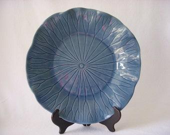 Vintage Ceramic Blue Lotus Serving Platter - Hand crafted California Metlox Potteries