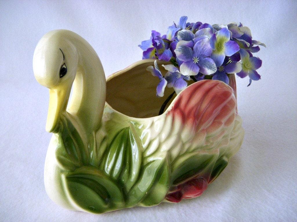 Vintage Swan Planter Made In Usa Ceramic Garden Art Planter