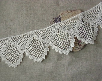 Vintage style Cotton Fabric Crochet Lace Trim 1yard #345