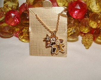 Sweet Monet Gold Tone Gingerbread Men Collectible Trinket Necklace