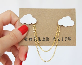 Collar Clips: Little White Clouds