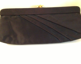 1950's Crown Lewis Matte Satin Clutch Handbag Gold Clasp with Rhinestones
