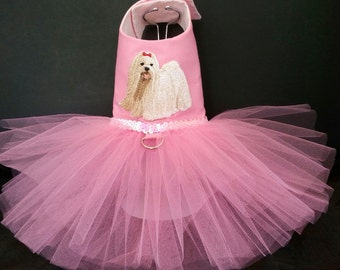 Pink Maltese Embroidery Dog Harness Dress. XSmall Dog Dress to Large Dog Dresses, Designer Dog Dress, Girl Dog Clothes, Wedding Dog Dress.