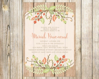 Rustic Bohemian Peach Floral Baby or Bridal Shower Invitation