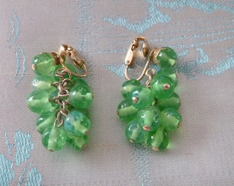 Vintage KRAMER Green GLASS Earrings Dangle Drop Chandelier Cluster Bead Clip On Cha Cha 1940s Fashion Peridot Jewelry August Birthday Gift