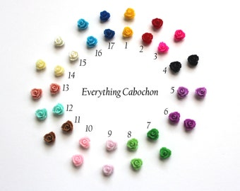 100 pcs Mixed Color Rose Flower Resin Cabochon, 7.5x6mm