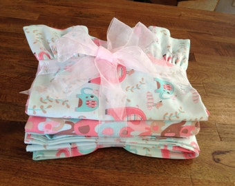 Pink & Teal Baby Elephants Crib Sheet Set / Toddler Bed Sheet Set, Fitted Sheet With Full Elastic, Flat Sheet, Ruffled Standard Pillow Case,