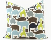 Boy Pillow, 14x14 Pillow Cover, Animal Decorative Pillows, Throw Pillow, Dwell Studio, Boy Decor,  Zoo Pals Blue