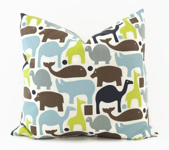 Animal Pillow, 16x16 Pillow Cover, Throw Pillow, Decorative Pillow, Dwell Studio, Boy,  Zoo Pals Blue