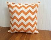 Orange Chevron Pillow Cover / Pumpkin Orange Chevron Throw Pillow Cover / Orange Sofa Pillow Cover