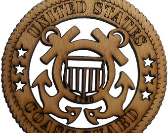 United States Coast Guard  Ornament  approx 3.5 inch  Laser Cut