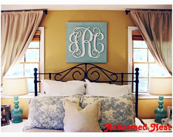 """Wooden Wall Monogram - Painted Letters - 24"""" x 30"""" - Wood Monogram- Wall Decor - Bedroom Wall Art - Monogram Wall Hanging Decor"""