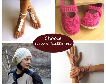 Crochet and Knit Pattern Set - Buy 4 patterns at lower price Combo Deal Discount Package PDF