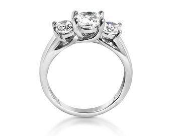 Trellis Trilogy ring with genuine white Sapphires - Choose from Titanium or white gold - engagement ring