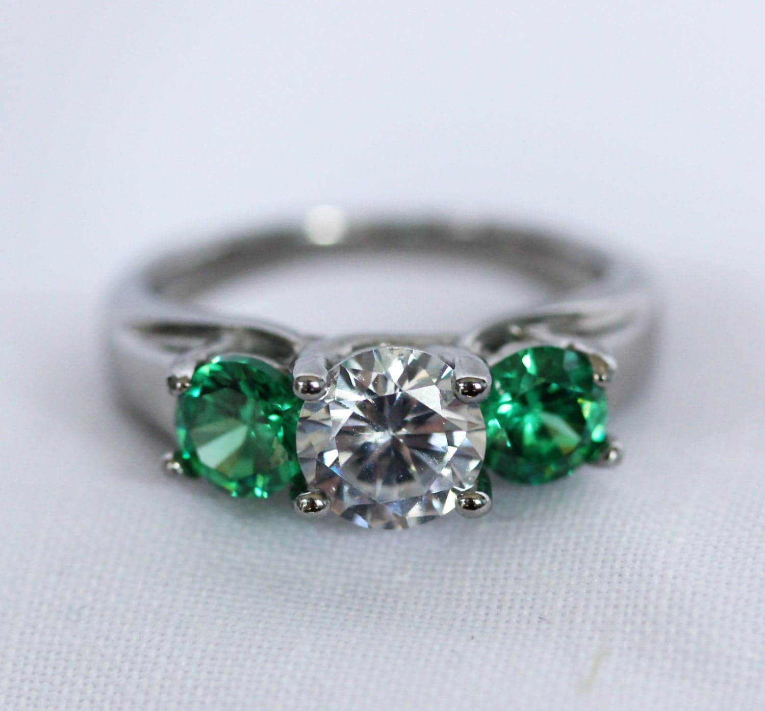 Trellis Trilogy Ring With Natural Emeralds And White Sapphire