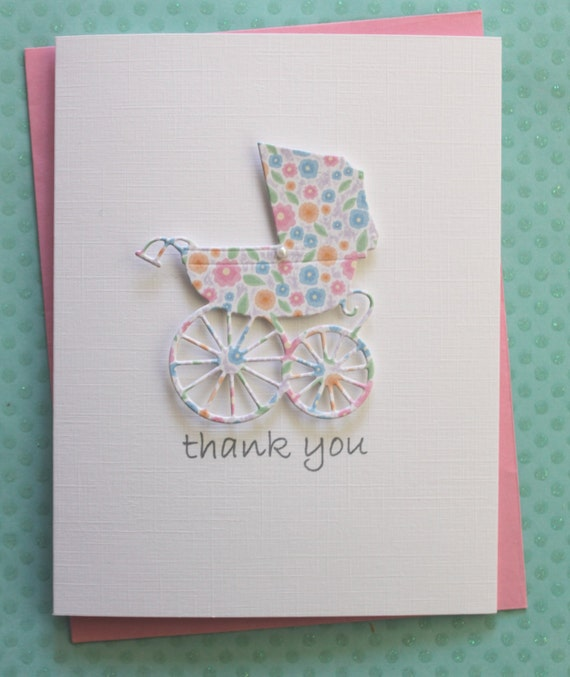 Baby Gift Cards Uk : Items similar to carriage baby shower thank you cards