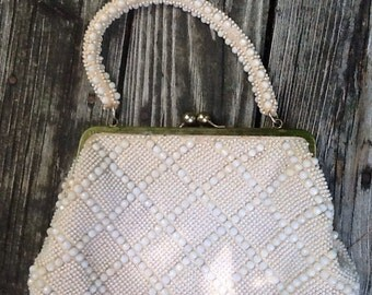 White Beaded Evening Formal Purse