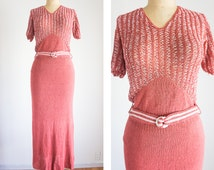 1930s Crochet Rose Dress / Vintage / Medium / Vie En Rose Knit Dress