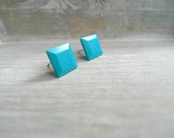 Square stud earrings Stainless steel posts, Geometric studs, Teal studs